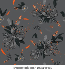 Monotone  Floral pattern in the many kind of flowers with orange brush, Botanical . Seamless vector texture.  for fashion fabric and  all prints  with in hand drawn style on grey background.