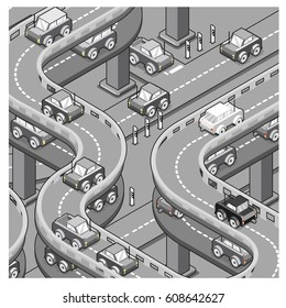 Monotone gray cars driving on concrete jungle highway (cartoon, isometric style)