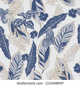 Monotone grey and blue tropical leaves and foliage seamless pattern vector in hand drawn style for fashion fabric and all prints on light grey background color