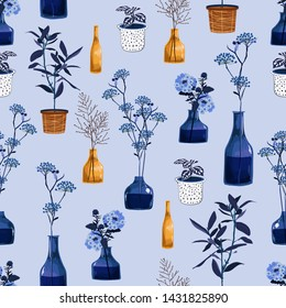 Monotone of modern flowers and vase ,pot  with botanical plants illustration in vector seamless pattern design