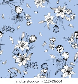 Monotone on light blue outline sketch and hand drawn lily flowers. Botanical Seamless pattern vector texture. For fashion prints. printing ,fabric,fashion wallpaper and all prints