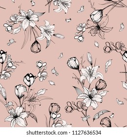 Monotone on pastel pink nude outline sketch and hand drawn lily flowers. Botanical Seamless pattern vector texture. For fashion prints. printing ,fabric,fashion wallpaper and all prints