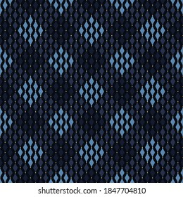 Monotone pattern royal blue seamless background abstract tartan plaid motif minimalist modern geo ornament. Small square shape allover print block for apparel textile, ladies dress fabric, shop window