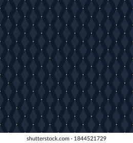 Monotone rhombus shape motif pattern royal blue background minimalist modern geo ornament fabric design. Small element allover print block for apparel textile, ladies dress, man shirt, wrapping cloth.