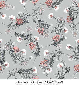 Monotone Seamless pattern ,white blooming garden flowers in delicate botanical vector design for fashion,fabric,wallpaper and all prints on light grey background color