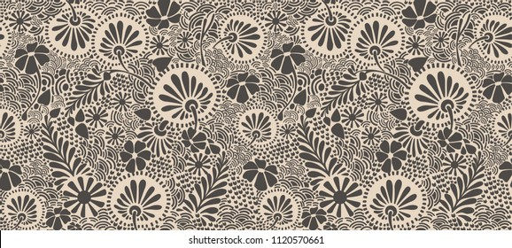 Monotone seamless vector pattern. The picture shows flowers in a modern style. Clover.Yu dandelions and branches with leaves.