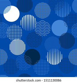 Monotone shade of blue minimal geometric circle from line and dots samless pattern ,Design for fashion , fabric, web, wallpaper ,and all prints on summer electric blue background color