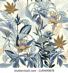 Monotone in shade of blue ,Summer wild forest full of  blooming flower in many kind of floral seamless pattern vector ,hand drawing style for fashion, fabric and all prints on white background.