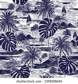 Monotone vector hand drawn on navy blue seamless island pattern on white background. Landscape with palm trees,beach and ocean vector