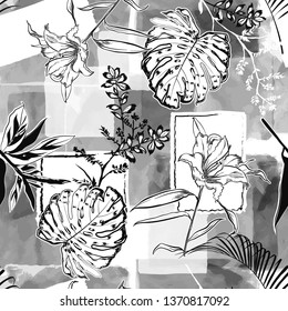 Monotone white grey and black Hand drawing sketch botanical and tropical leaves on watercolor  seamless pattern vector design for fashion,fabric,wallpaper,web and all prints