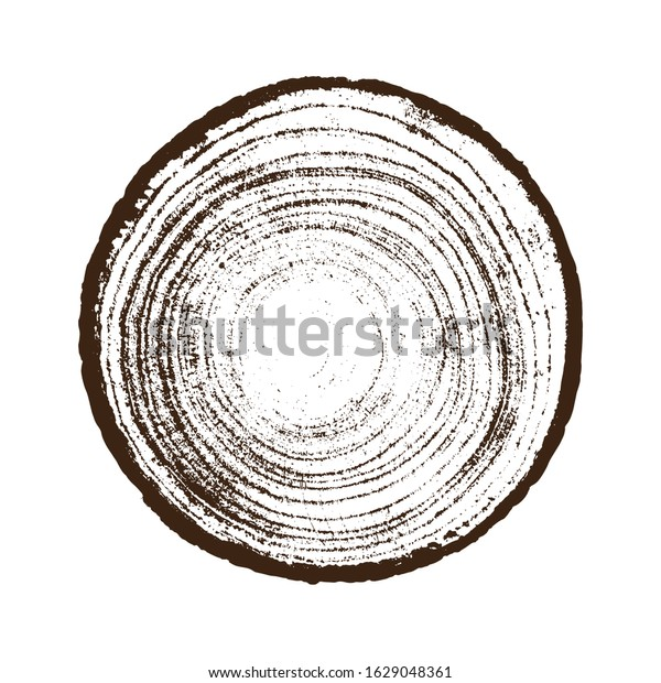 Monotone Wood Texture Stamp Detailed Tree Stock Vector Royalty