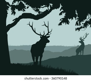 monotonic illustration of two elks on a landscape