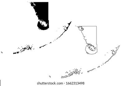 Monroe County, Florida (U.S. county, United States of America, USA, U.S., US) map vector illustration, scribble sketch Monroe map