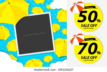monsoon rainy end of season special offer badge with red and yellow umbrella  random background, Illustration vecter