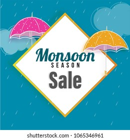 Monsoon Sale concept with umbrellas on rain drops background.