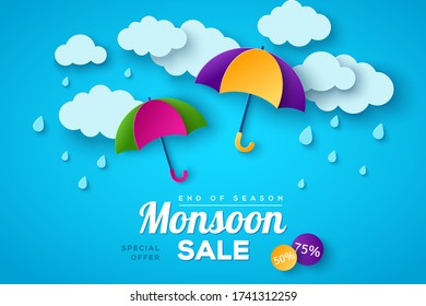 Monsoon sale offer banner template with paper cut clouds and colorful umbrella on blue background. Vector illustration. Place for text. Overcast sky with rain
