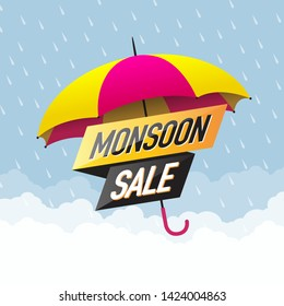 Monsoon Sale Offer Concept, Template, Banner, Logo Design, Icon, Poster, Label, Web Header, Background Mnemonic with Umbrella over it. Monsoon season raining drops - Vector, Illustration