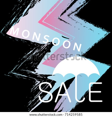 Monsoon Sale Web Banners Template Neon Stock Vector Royalty Free
