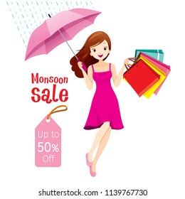 Monsoon Sale, Woman Under Umbrella Jumping With Many Shopping Bags, Rainy Season, Raindrop, People