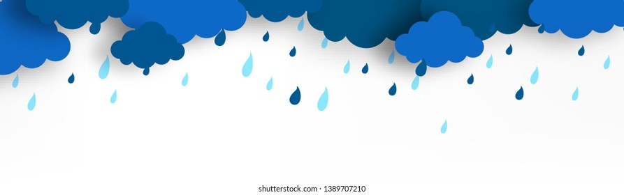 Monsoon season with colorful umbrellas, paper-art layering concept based clouds. - Vector with monsoon elements and offer text like cloud,rain and sky.