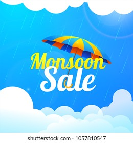 Monsoon season sale with colorful umbrella, raindrops, and clouds.