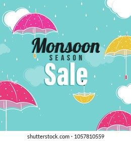 Monsoon Season Sale Concept with Colorful Umbrellas, on Cloudy Sky.