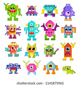Monster alien vector cartoon pixel monstrous character of monstrosity and alienation illustration monstrously set of cute alienated pixy creature on halloween for kids isolated on white background