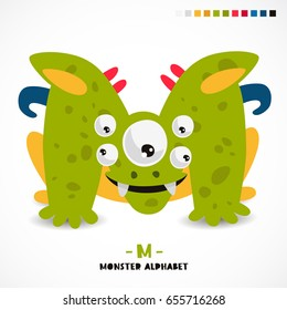 Monster alphabet. Letter M. A strange animal. Vector illustration on white background. Great children's print. The concept of a kid's toy.