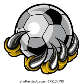 A monster or animal claw or hand with talons holding a soccer football ball