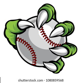 A monster or animal claw holding a baseball ball