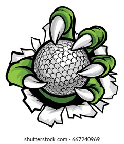 A monster or animal claw holding a golf ball and breaking through the background