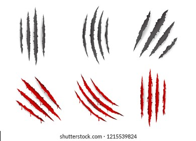 Monster animal claws bleeding scratches material torn blood set isolated design vector illustration