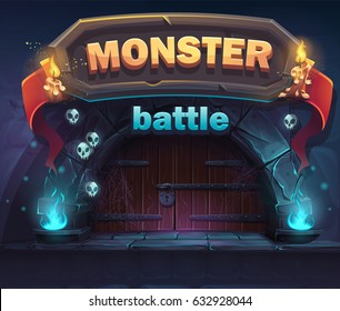 Monster battle GUI boot window. For web, video games, user interface, design