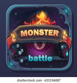 Monster battle GUI icon - cartoon stylized vector illustration with text button, game name.