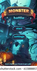 Monster battle GUI start playing field match 3 - cartoon stylized vector illustration mobile format window with options buttons, game items, cards.