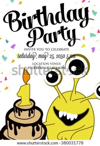 Monster Birthday Invitation Stock Vector Royalty Free 380031778