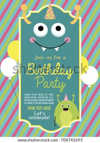 Monster Birthday Party Invitation Card Vector Stock Royalty