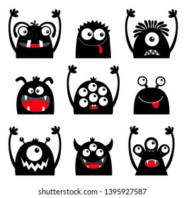Monster black silhouette head face icon set. Eyes, tongue, tooth fang, hands up. Cute cartoon kawaii scary funny baby character. Happy Halloween. White background. Flat design. Vector illustration