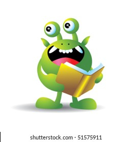Monster with book