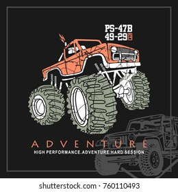 Monster Car,Monster Truck,Adventure Car,T shirt,Big Car,Car vector