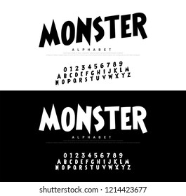 Monster Cartoon Alphabet Scary Typeace. Typography comic style font set for logo, Poster, Invitation. vector illustrator