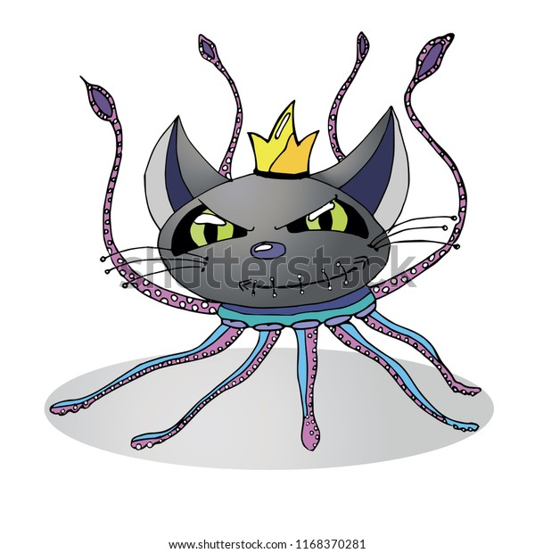 Monster Cat Octopus Vector Hand Drawn Stock Vector Royalty