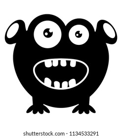 A monster character with bulging eyes two ears and tongue coming out depicting happy zazzle monster