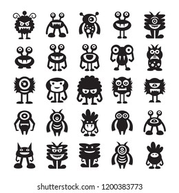 monster character icons set