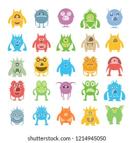 monster character icons set, colorful design