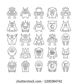 monster character icons set, line design