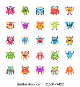 Monster Characters Flat Vector Icons