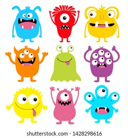 Monster colorful round silhouette icon set. Eyes, tongue, tooth fang, hands up. Cute cartoon kawaii scary funny baby character. Happy Halloween. White background. Flat design. Vector illustration