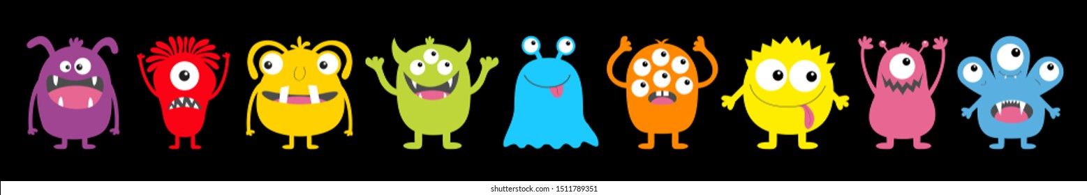 Monster colorful round silhouette icon set line. Happy Halloween. Eyes, tongue, tooth fang, hands up. Cute cartoon kawaii scary funny baby character. Black background. Flat design. Vector illustration
