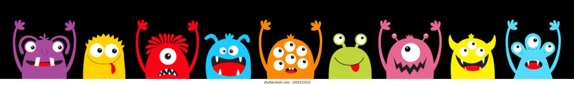 Monster colorful silhouette head face icon set line. Happy Halloween. Eyes, tongue, tooth fang, hands up. Cute cartoon kawaii scary funny baby character. Black background. Flat design. Vector